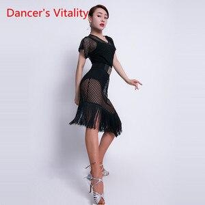 Image 5 - الرقص اللاتينية ارتداء الإناث جديد مثير الخامس الرقبة ممارسة الملابس أداء الملابس جوفاء اللاتينية التدريب شرابة فستان نصف كم