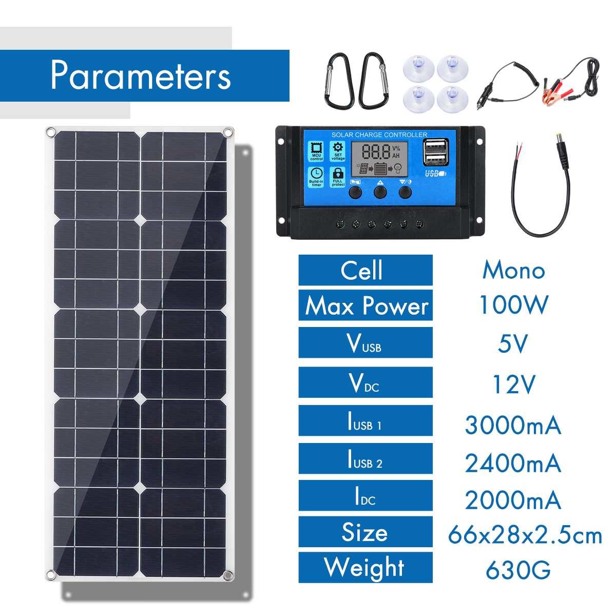 Gran oferta 100W 18V Panel Solar Mono Dual 12 V/5 V CC USB monocristalina Flexible Cargador Solar para coche RV barco cargador de batería - 2