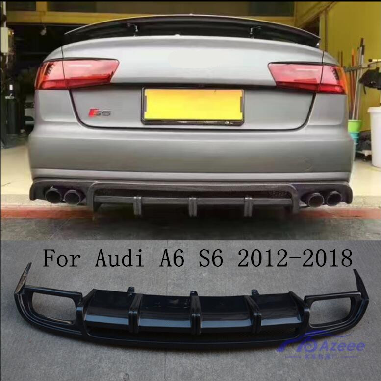 Carbon Fiber <font><b>Rear</b></font> Bumper Lip Auto Car <font><b>Diffuser</b></font> Fits For <font><b>Audi</b></font> A6 <font><b>S6</b></font> RS6 2012 2013 2014 2015 2016 2017 2018 image