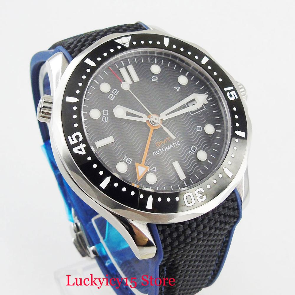 Fashioal 41mm Black Dial Wave Dial Sapphire Glass Rotating Bezel GMT Function Rubber Strap Dae Window