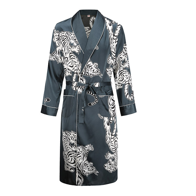 Silk Nightgown Men's Summer Thin Bathrobe Tiger Nightgown Loose Wedding Robesilky Long Sleeve Sleeprobe Plus Size Home Wear