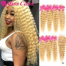 Miss Cara-mechones de pelo humano Remy con cierre, mechones de pelo ondulado, color rubio peruano, 100%, 3 mechones