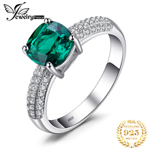 Nano Russian Emerald Engagement Wedding Ring Solid 925 Sterling Silver Square Cut