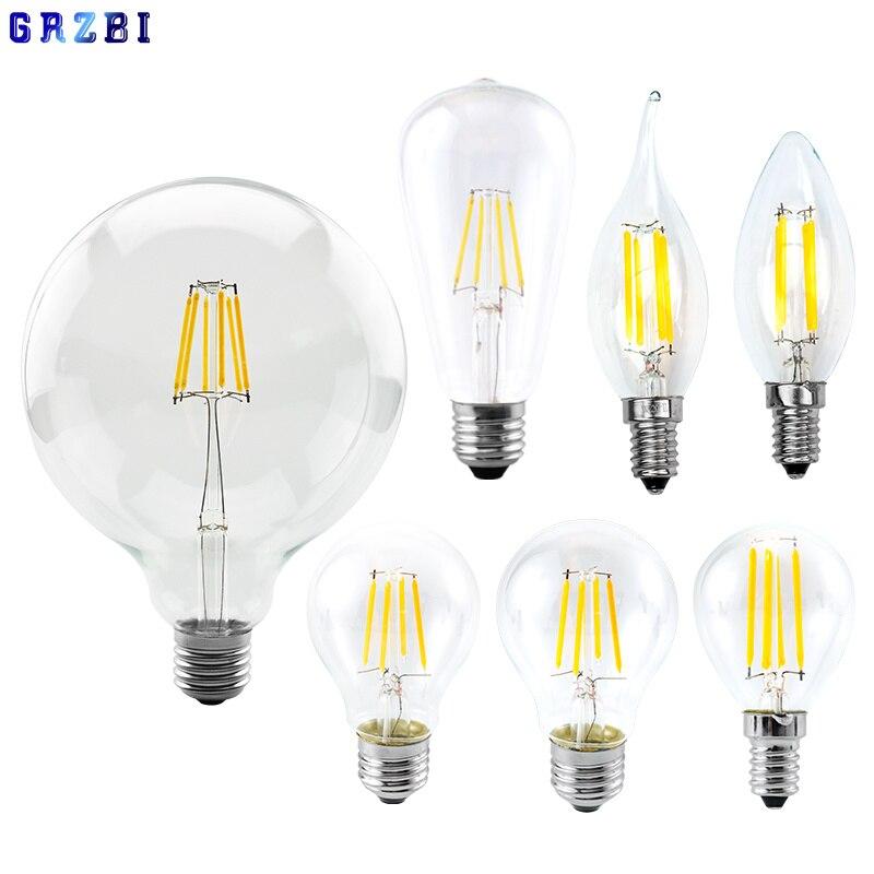 Ретро Эдисон E27 E14 светодиодный лампы накаливания 220V-240V светильник лампочка C35 G45 A60 ST64 G80 G95 G125 Стекло лампы Винтаж Свеча светильник