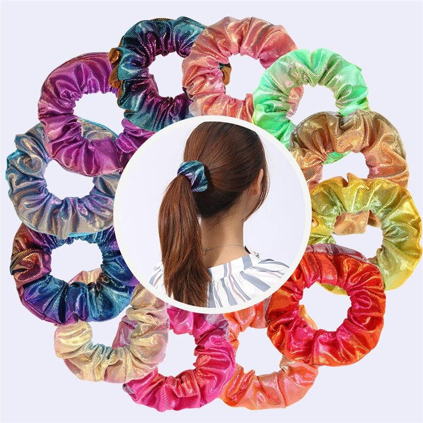 Multicolor Glitter Colorful Rope Ponytail Holder Hair Christmas Girls Chiffon Velvet Satin Hair Scrunchie Hair Accessories 30