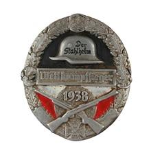 Vintage alemán casco de acero insignia ejército militar competencia colección antigua