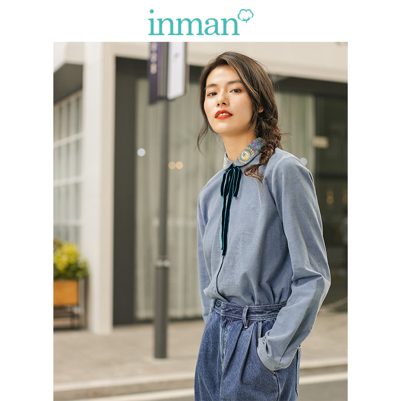 INMAN Winter 100%Cotton Lacing Embroidery Turn Down Collar Literary Elegant All Matched Women Blouse