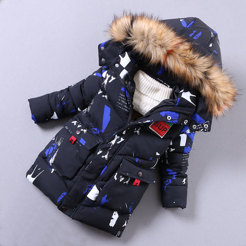 Boys warm coats winter kids fashion thick down parkas for baby boys children casual hoodies clorhing boys long doorout jackets