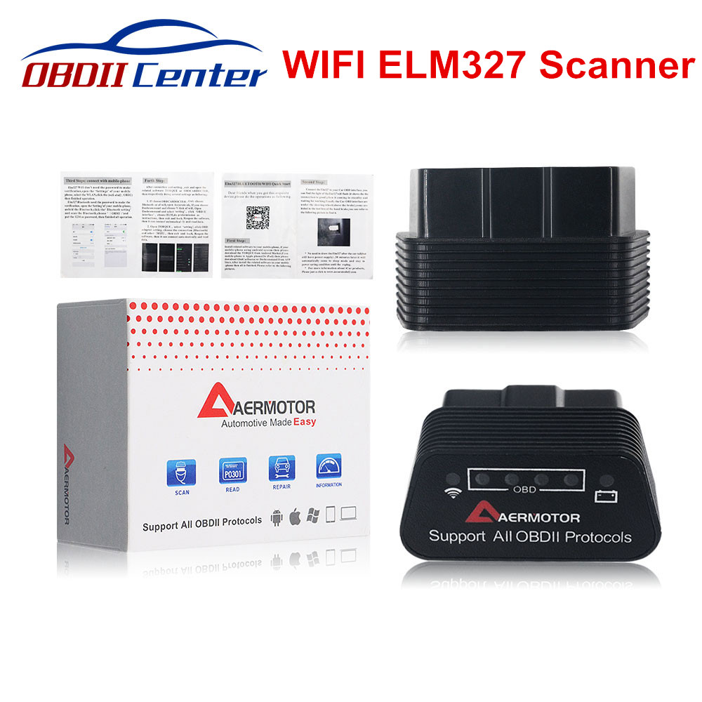 New Brand AERMOTOR Wifi <font><b>ELM327</b></font> <font><b>1.5</b></font> Auto Diagnostics Scanner ELM 327 OBDII V1.5 <font><b>WI</b></font> <font><b>FI</b></font> OBD2 Interface Support Android IOS PC image
