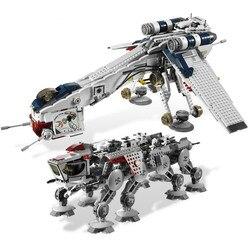 Em estoque 1788 pçs estrela plano república gunship dropship bloco de construção tijolos brinquedos para crianças presente natal 05053
