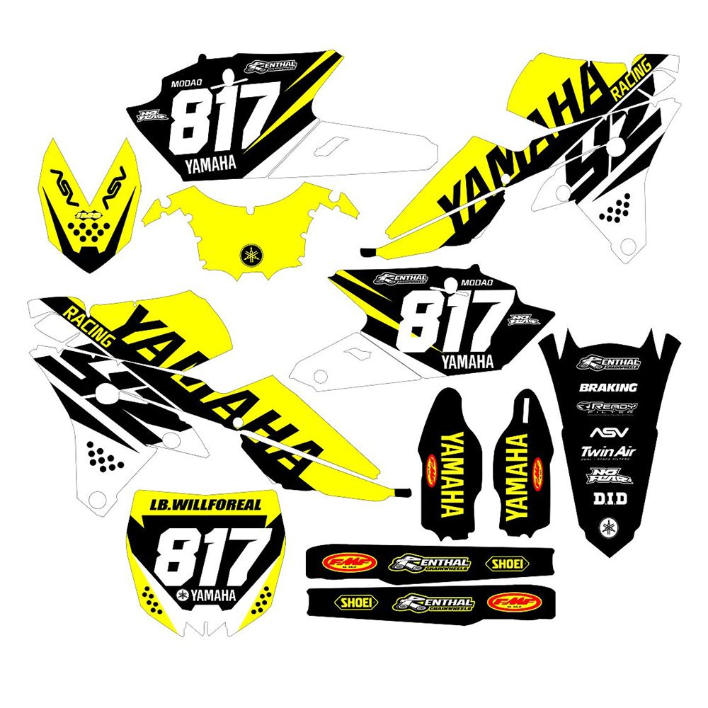 New Full Graphics Decals Stickers Custom Number Name 3M Bright Stickers For YAMAHA YZF YZ250F YZ450F 2014 2015 2016 2017
