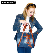 KISS KAREN Stylish Floral Design Denim Totes Casual Tote Bag Women Purse Womens Shoulder Bags Jeans Handbags All New