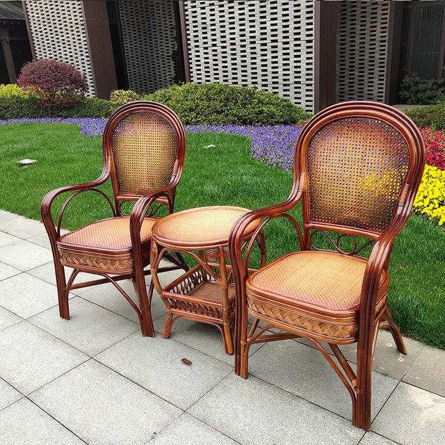 600 Rattan chair elderly chair high back outdoor leisure balcony office Mahjong chair Indonesia natural single real rattan chair 4