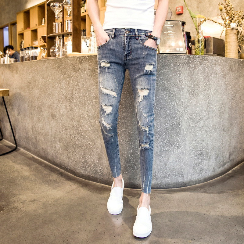 Purchasing Agents Fashion Man Slim Fit With Holes Cowboy Skinny Pants Social Lively Fella Pants Deft Reds Celebrity Style Capri