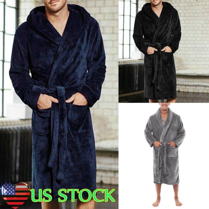 Men's Winter Warm Robes Thick Lengthened Plush Shawl Bathrobe Kimono Home Clothes Long Sleeved Robe Coat Peignoir Homme Hot