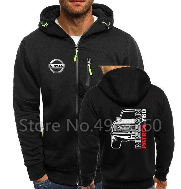 2019 Nissan Logo Zipper Sweatshirt Men Zipper Hoodies Autumn  PATROL Nissan Offroad 4x4 Y60 1 Y61 Sweatshirts Cotton Jacket
