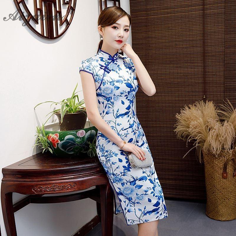Spring Blue White Print Cheongsam Modern Long Dresses Chinoise Retro Similar Silk Qi Pao Women Traditional Chinese Dress Robe