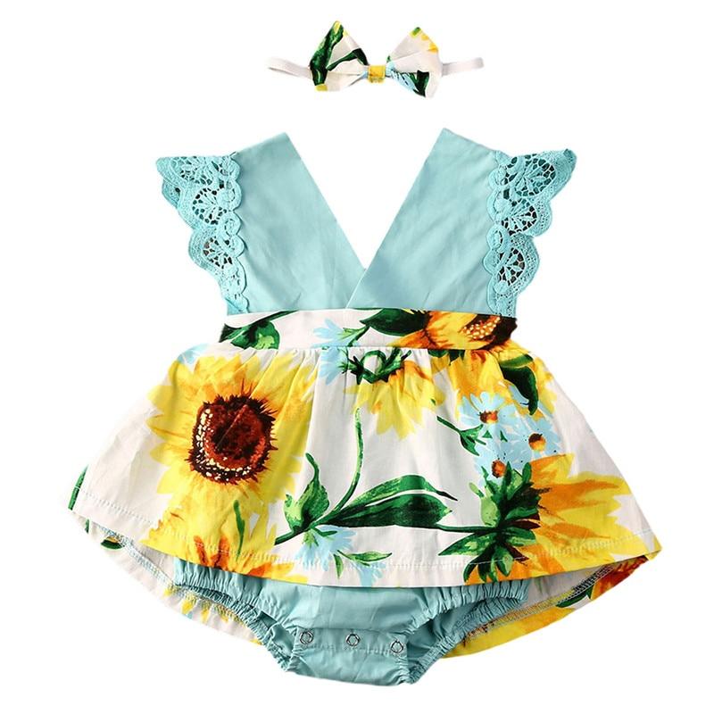 Babywow Baby Girls Halter Sunflower Romper Sunsuit Jumpsuit Summer Outfit