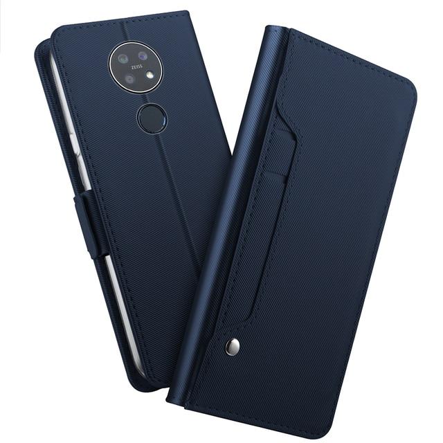 Para Nokia 7,2 Funda de cuero tipo cartera con tapa y soporte con espejo a prueba de golpes para Nokia 3,1 C Nokia 2,2 funda con ranura para tarjeta de lujo