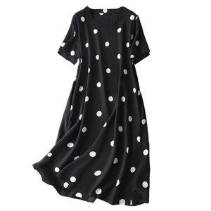 Женское шелковое платье-трапеция в горошек, вечерние платья из 100% натурального шелка, винтажное летнее платье миди с короткими рукавами и з...