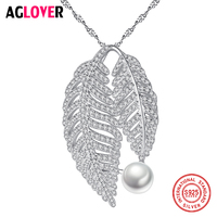 AGLOVER New 100% 925 Silver Chain Leaf Shape Pearl Necklace Pendant Pearl Natural Freshwater Pearl Jewelry Link Women Gift Party