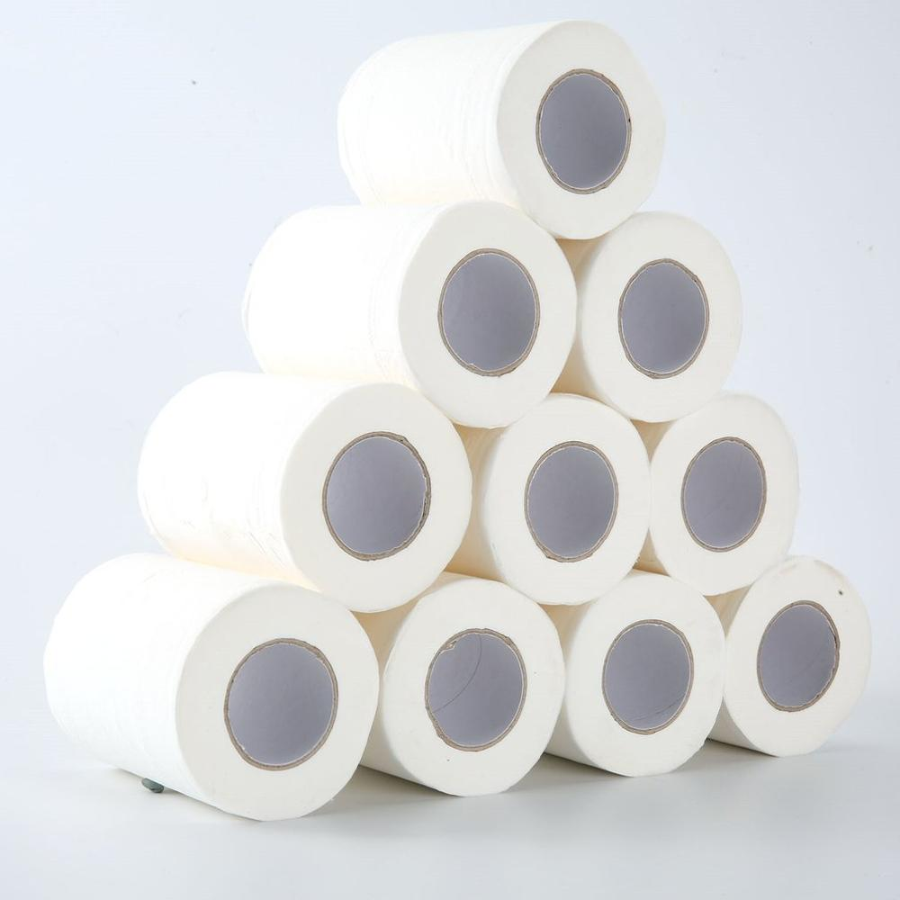 The New Family Size 10 Rolls Roll Paper Restaurant Hotel Roll Paper Household Toilet Paper Primary Wood Pulp Tissue Roll Paper