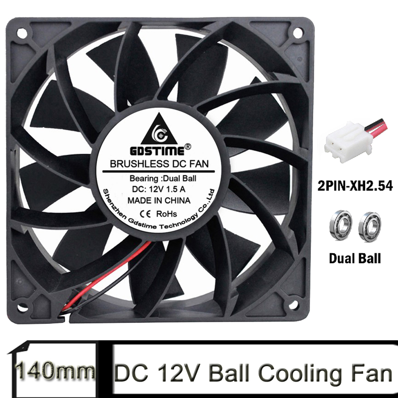 1pcs Gdstime <font><b>140mm</b></font> PC Case Cooling <font><b>Fans</b></font> 140x38mm DC 12V Dual Ball 14cm Computer High Quality Coolers Heatsink image