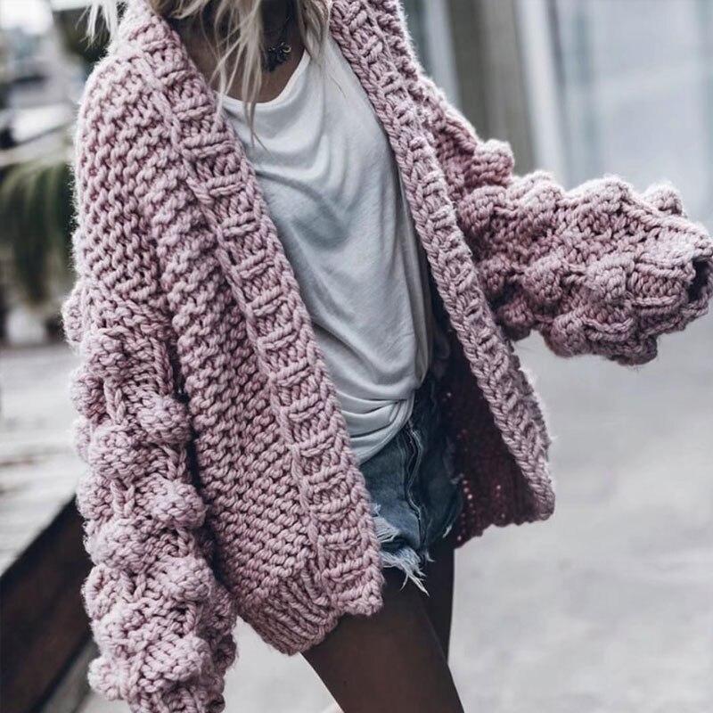 Long noir tricoté à la main femme Cardigan décontracté lanterne manches chandails femmes hiver 2019 blanc cachemire Cardigan femmes pull