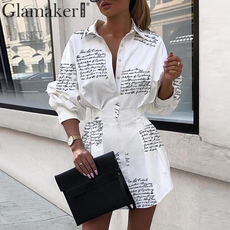 Glamaker Letter Print Sexy Mini Short Shirt Dress Women White Long Sleeve Party Club Dress Winter Autumn Elegant Bodycon Dress