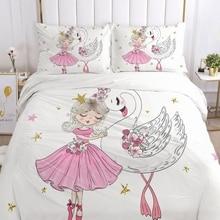 Bedding-Set Blanket Quilt-Cover Swan Girls Baby Kids Princess Children Cartoon Pillowcase