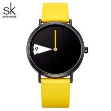 ساعة يد من SHENGKE مصنوعة من الكوارتز ساعة يد نسائية عصرية فاخرة مبتكرة ساعات نسائية من أفضل العلامات التجارية ساعات من الجلد ساعة نسائية