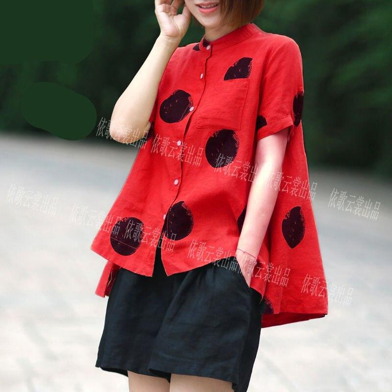 Women Fashion Elegant Casual Look Shirt Female Tops Cute Polka Dot Print Weekend Blouse Summer Single Breasted Shirt and Blouse 10