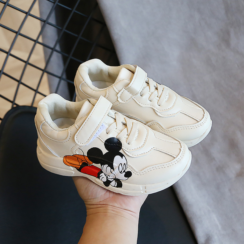 Cartoon Mouse Anti-slip Beige Sport Sneakers Children Boy Outdoor Sport Running Shoes Sneakers Kid's Breathable Footwear Shoes