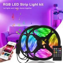 12V Bluetooth Светодиодная лента светильник RGB SMD 5050 5 м гибкая лента Цвет изменение музыкальной синхронизации умный светодиодный светильник для д...