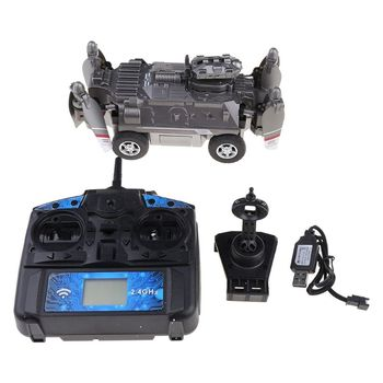 1Set FY330 2 In 1 Air and Land Mode 0.2MP 720P WIFI FPV Military Helicopter Drone Tank Car Toys 2.4G 4CH RC Quadcopter
