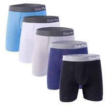 5 Pcs/Lot Men Long Boxer With Fly Cotton Mens Underwear Boxers U-convex Soft Boxershorts Male EU/US Size M L XL XXL