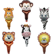 1pcs Cartoon Animal Hand Stick Balloons lion tiger cow Monkey Zebra Deer child Birthday Party Decoration kid globos Balloon(China)