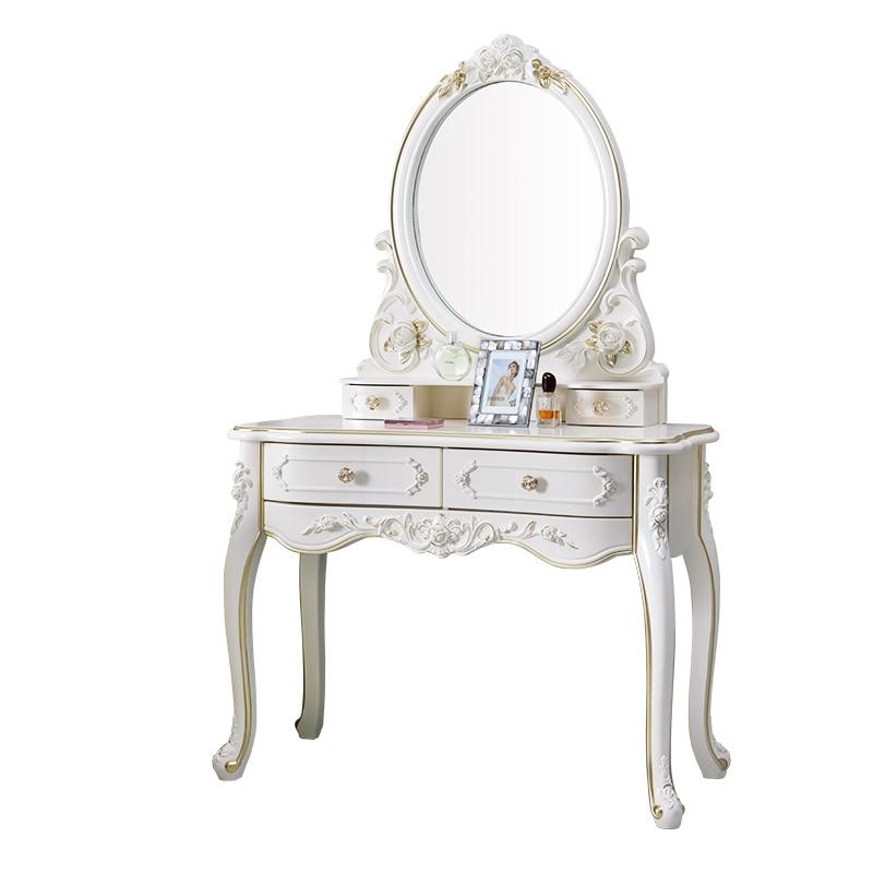 European Dressing Table Carve Celebrity Makeup Table Penteadeira Bedroom Furniture Vanity Mirror Makyaj Masası Kaptafel Cheap