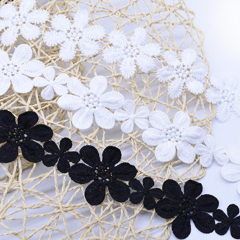 2 metre beyaz siyah dantel nakış çiçek aplikler dikiş dantel süs kumaşı konfeksiyon giyim aksesuarları İğne süslemeler