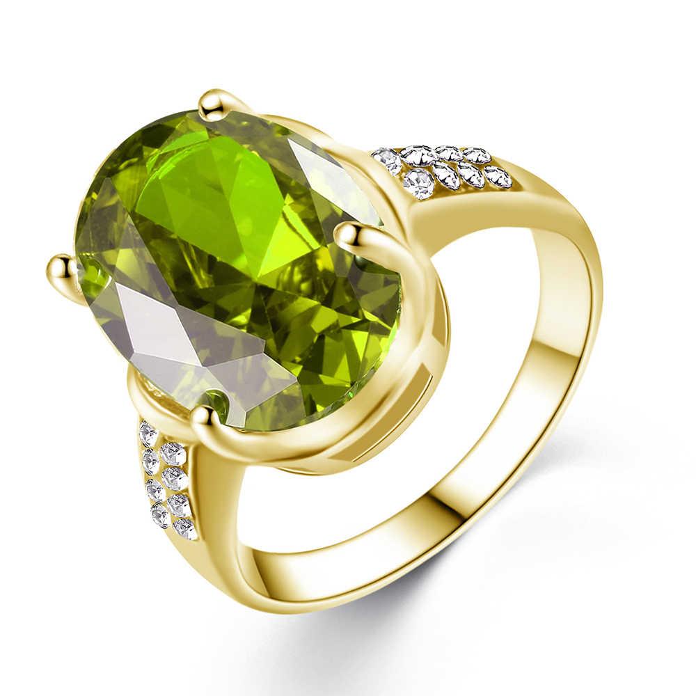 Oval princesa zircônia cúbica cor anel de noivado anel de casamento moda linda qualidade senhoras jóias anel de festa