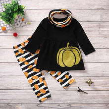 Thanksgiving Girl Pumpkin Striped Clothes Set