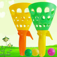 1PC Colorful Double Docking Balls With Blow Pipe Outdoor Interactive Rubber Toy For Children Throw Ball Catch Ball Toys Funny