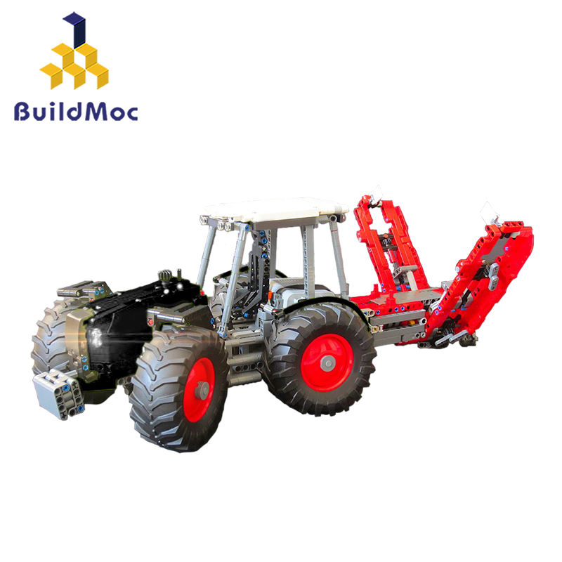 Buildmoc Classic Old City Tractor Car Building Block For <font><b>Technic</b></font> DIY Walking Tractor Truck Brick Educational Toys for Children image