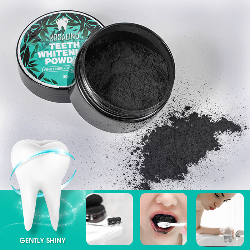 ROSALIND Teeth Whitening Oral Powder Activated Charcoal Carbon Hygiene Cleaning Teeth Dental Instrument Tools Equipment 30g(China)