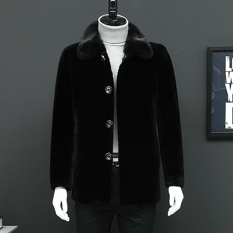 Real Fur Coat Winter Jacket Men Real Mink Fur Collar Sheep Shearling Fur Coat Warm Wool Jackets Veste Homme L16901S YY332