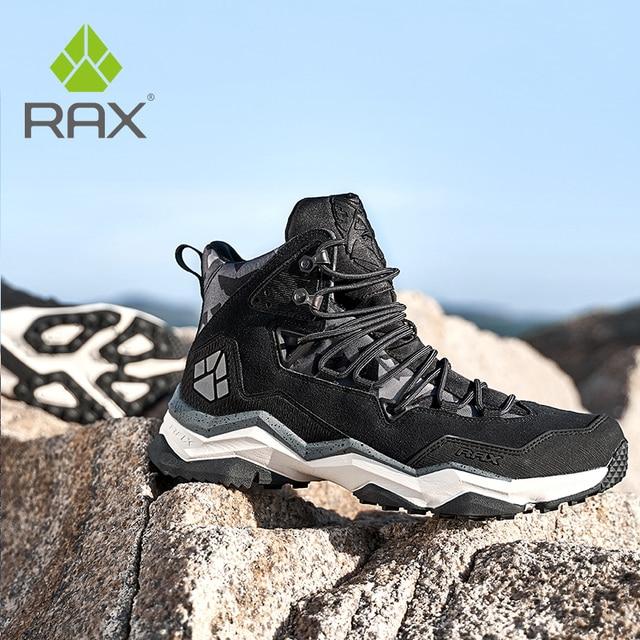 を RAX 男性登山靴の冬の防水屋外スニーカー男性革トレッキングブーツトレイルキャンプクライミングスニーカー革の靴