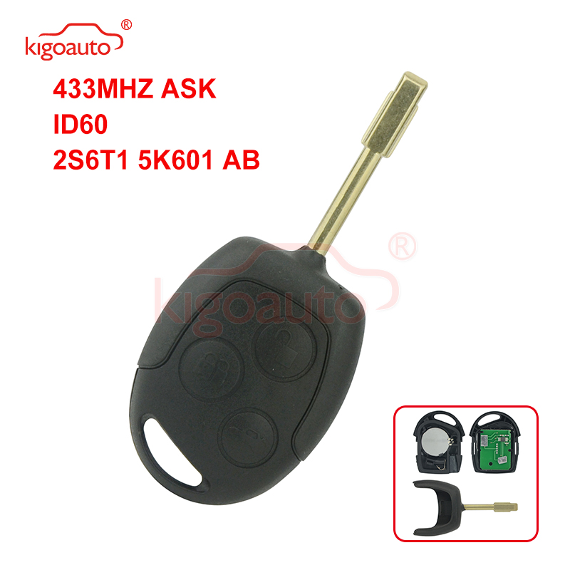 Kigoauto Black Remote key 3button 433Mhz FO21 KR55WK47899 for Ford Fiesta Focus Mondeo|Car Key| |  - title=