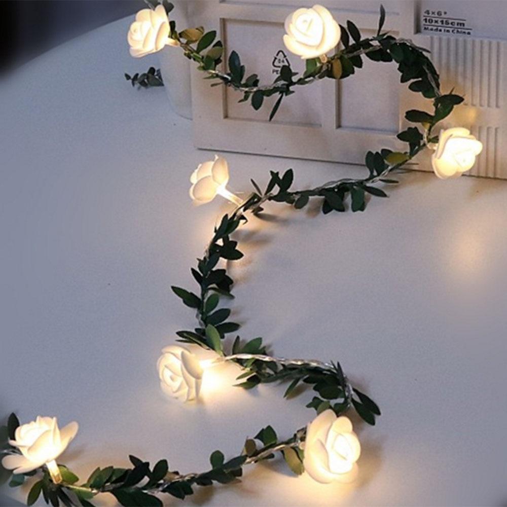 Rose Flower Vine String LED Lights Decoration Green Leaf Garland Battery/USB/Solar Powered 3m 5m 10m Warm White Fairy Lights