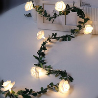 Guirnalda de luces LED con forma de flor rosa para decoración, alimentada por batería guirnalda de hojas verdes/USB/energía Solar 3m 5m 10m, luces de hada blanca cálida