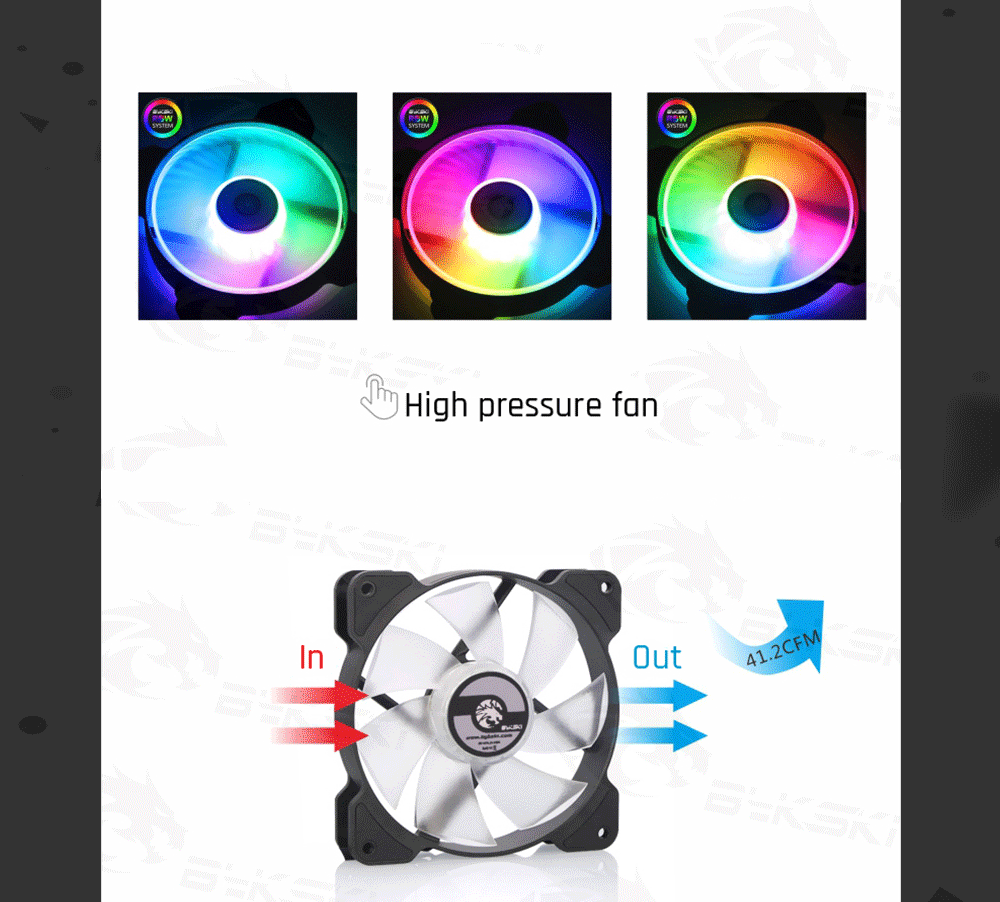 Bykski B-APRBW-FN-V2 RBW 120mm Constant Cooling Fan / Cooler, Compatible With 120 / 240 / 360 / 480 mm Radiators